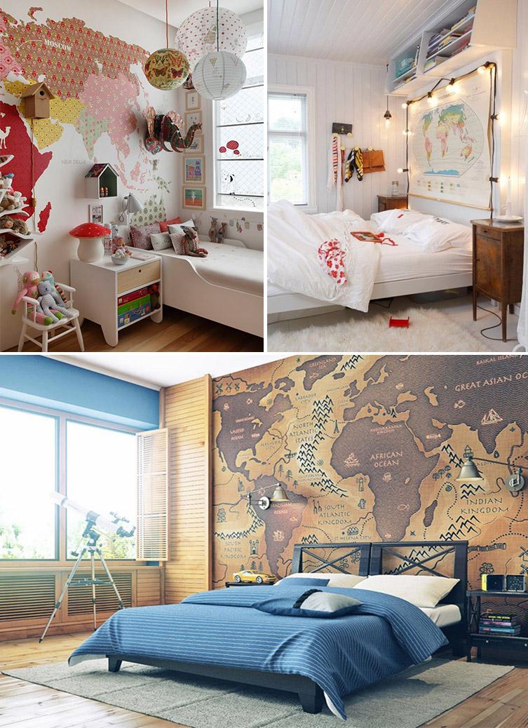 decoração com mapa-múndi - descrevendonuvens