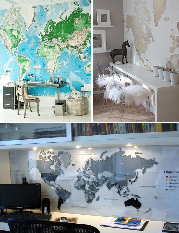 home office mapa mundi