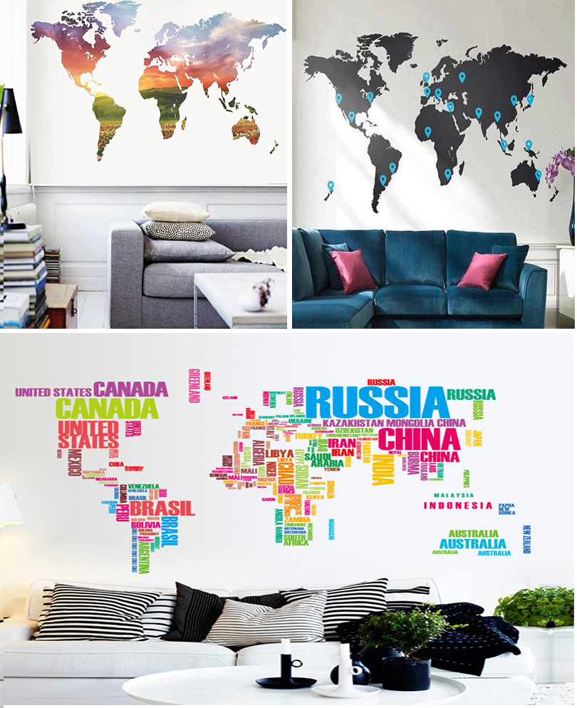 salas decoração mapa múndi